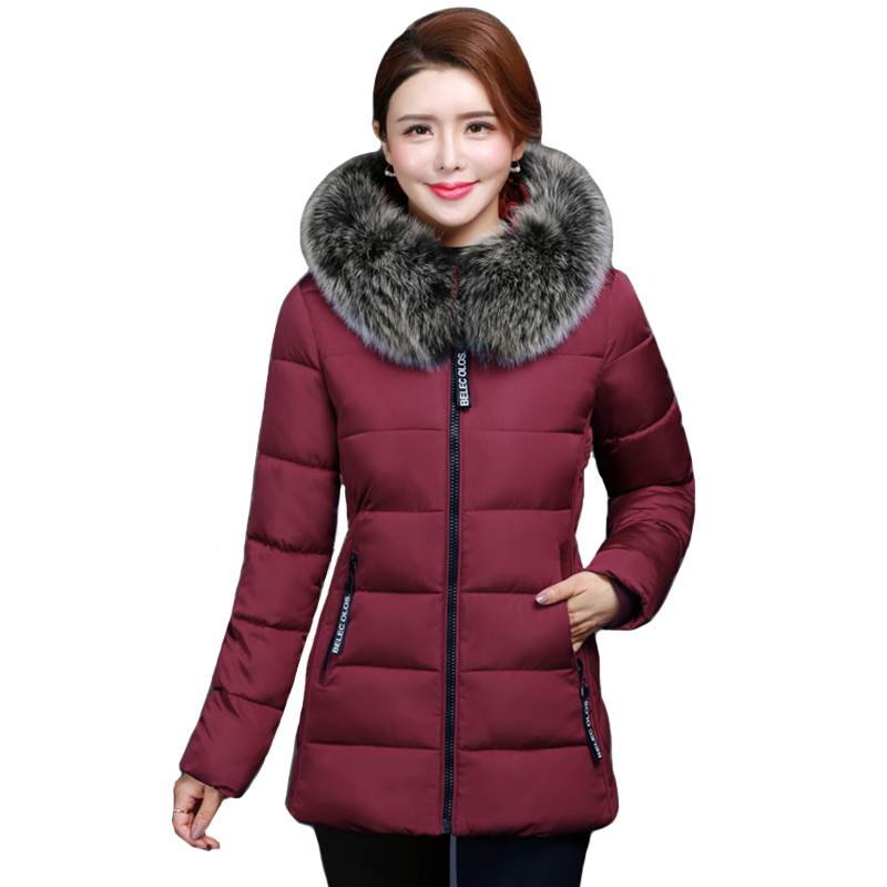2019 High Quality Winter Jacket Women With Fur Hooded Warm Women's Jacket Plus Size 4XL 5XL Coat Short Parka Camperas Mujer