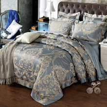 Luxury Europe Satin Silk Bedding Set 4Pcs Set Duvet Cover+Sheet+2 Pcs Pillow Case Two-Sided Embroidery Cotton Jacquard Bed Sets