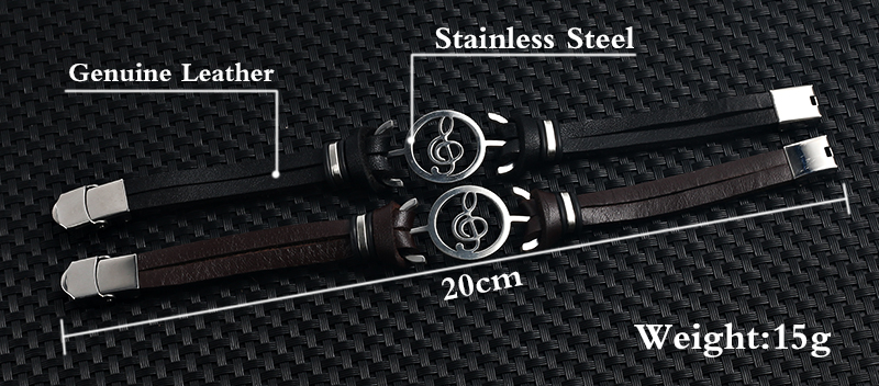 Stainless steel Music Leather Bracelets with Treble Clef 0013