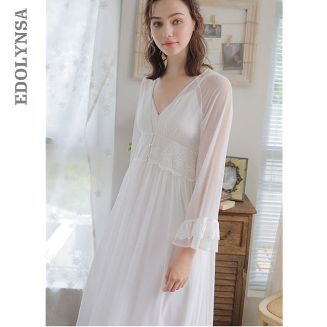 Vintage Robe Gown Sets Princess Two Pieces Sleepwear Women Peignoir ...