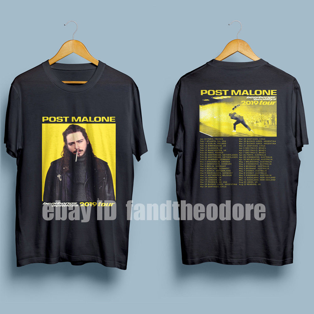 Post Malone Beerbongs & Bentleys 2019 Tour With Dates Men's Black   T  -  Shirt   New Fashion   T     Shirt   Graphic Letter