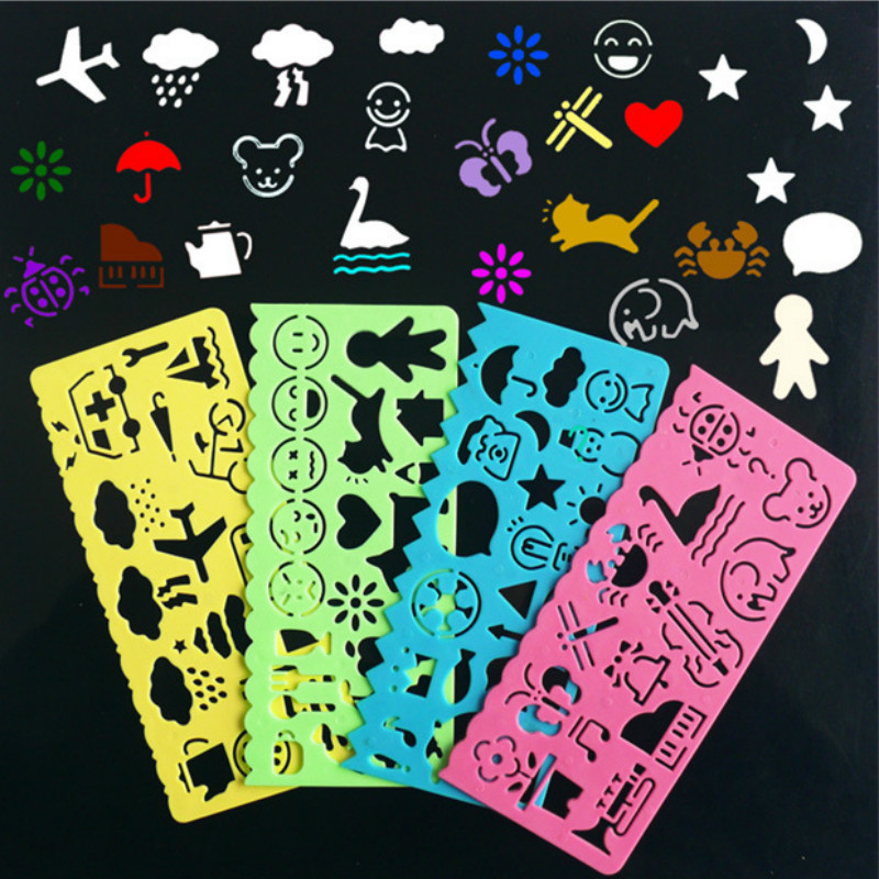 4PCS/set Funny Painting Drawing Template Student Creative Rules For DIY Album Scrapbooking Children Handmade Tool Stationery