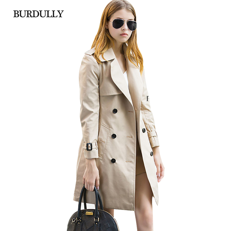 Double Décontracté Trench coat Europe Élégant Dark D'extérieur Style Hiver 2019 Dames Mince Amérique Mode Et Blue Boutonnage Vêtements Manteau khaki Burdully Long CPtOqFnn