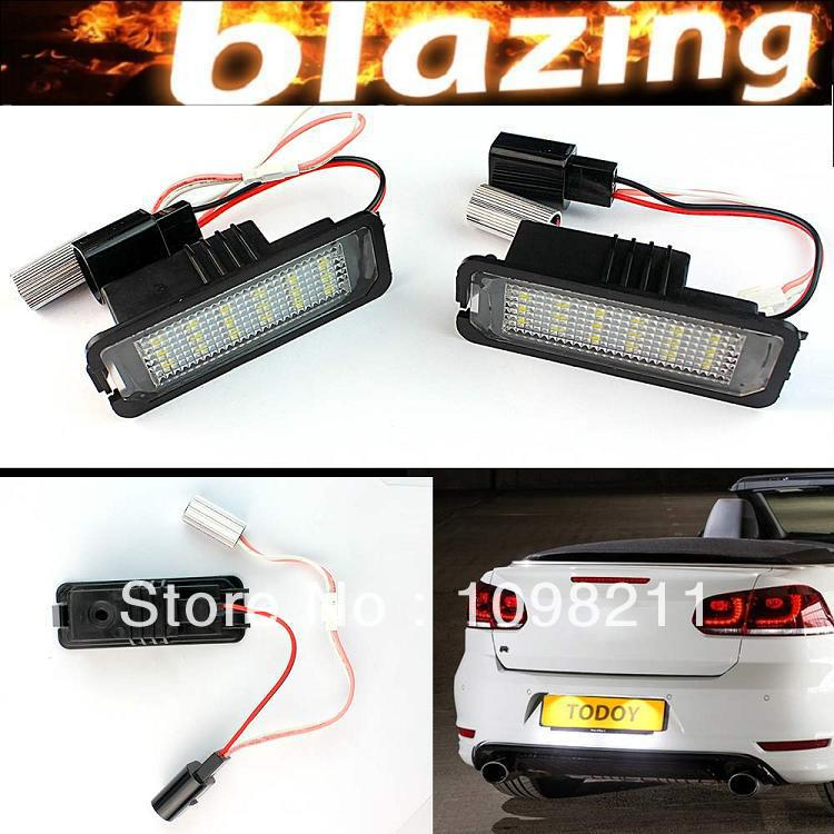 Pair High Power Error Free 18 SMD LED license plate tag light For Skoda SEAT Golf 4 5 6 Eos Lupo Beetle Passat CC Polo Phaeton