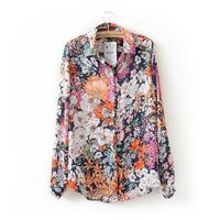 Female Spring Summer Fashion Chiffon Tops Vintage Floral Print Shirt Women S Long Sleeve Fashion Chiffon