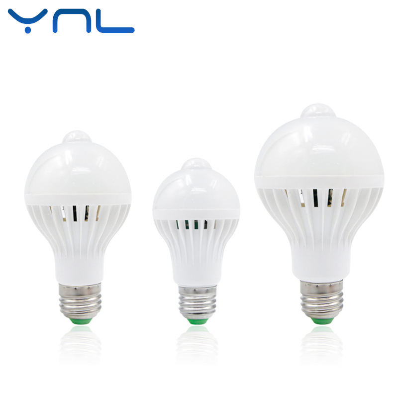 YNL PIR Motion Sensor Led Lamp Bulb E27 220V 5W 7W 9W SMD 5730 automatic Smart Detection Led Infrared Body Motion Sensor Light b22 5 7 9w 5730 smd auto smart motion pir infrared sensor body lamp detection led light lamp bulb pure warm white 85 265v