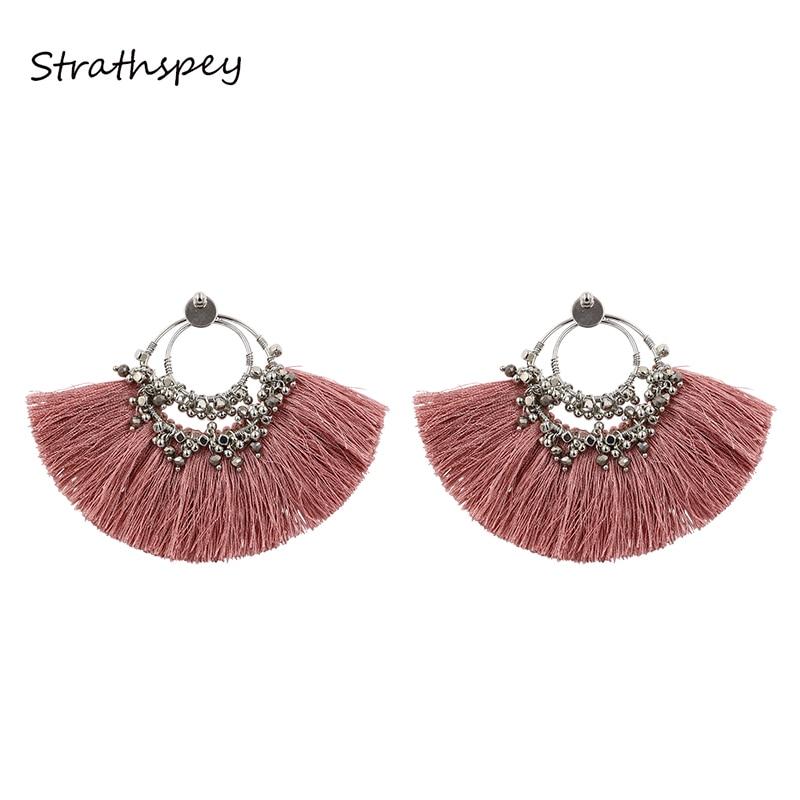 a8a521bdd0139 STRATHSPEY Bohemia ventilador hecho a mano en forma de borla pendientes  étnicos Vintage perlas de gota pendiente para las mujeres joyería DE LA  DECLARACIÓN