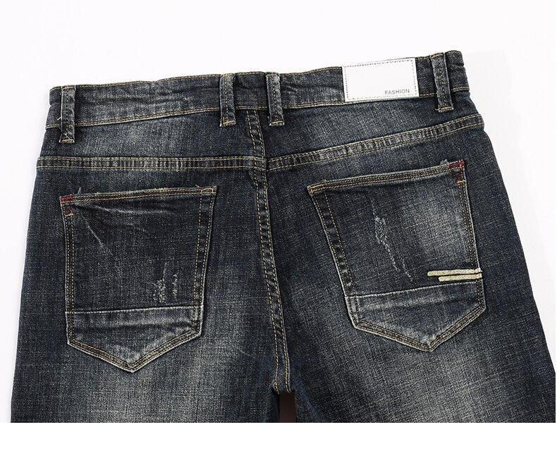 KSTUN Men's Jeans Retro Blue Elasticity Slim Straight Regular Fit Vintage Leisure Motorcycle Jeans Men Denim Pants Jeans Size 40 14