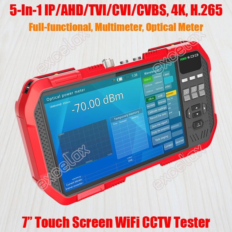 "Full functional 5 In 1 IP AHD TVI CVI CVBS Analog Camera CCTV Tester 7"" Touch Screen 4K 8MP WiFi ONVIF TDR Optic Multimeter TestCCTV Control System   -"