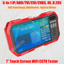 "Full functional 5 In 1 IP AHD TVI CVI CVBS Analog Camera CCTV Tester 7"" Touch Screen 4K 8MP WiFi ONVIF TDR Optic Multimeter Test"