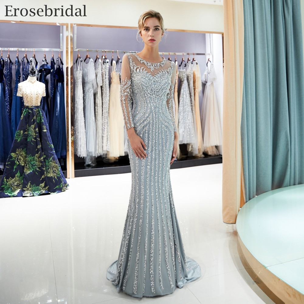 Erosebridal Mermaid Long Sleeve Evening Dress Long 2018 Sparkly Beads Sequined Formal Women Wear with Sweep Train Grey Champagne 1