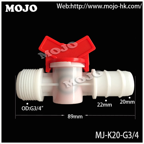 Free shipping!! MJ-K20-G3/4   20mm to G3/4'' Water Hose Valve Irrigation Valve For Micro Irrigation Garden  (10pcs/lots)