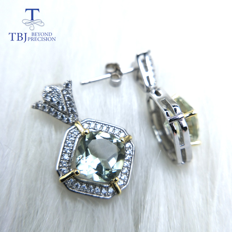 TBJ Dangle elegant earring with natural green amethyst quartz in 2 colors 925 sterling silver special