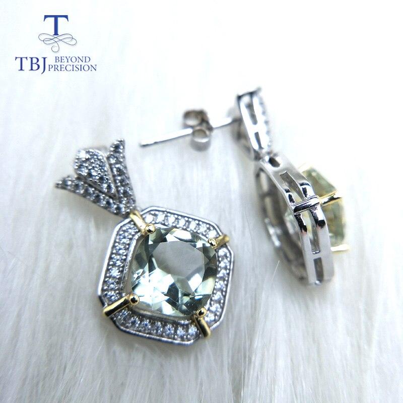 TBJ, dangle elegante oorbel met natuurlijke groene amethist quartz in 2 kleuren 925 sterling zilveren speciale gift voor vrouwen meisje mom-in Oorbellen van Sieraden & accessoires op  Groep 1
