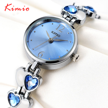 KIMIO Marca Magia Reloj Cristalino De Lujo de Regalo de Corazón de Acero Inoxidable de la Mujer Señora OL Moda Comercial Relojes Relogio Feminino