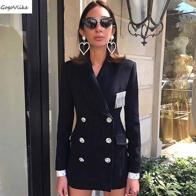 Bling Elegant blazers Women Black business OL Office suit  jackets Beading Sleeve 2018 New Coat Crystals Two Breasted LT383S50