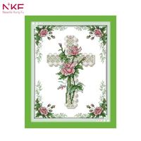 NKF 14CT 11CT Stamped and Counted The Heart Of A Rose Cross Stitch For Home Decoration J324