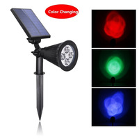Solar Powered Color Changed LED Spotlight Outdoor Waterproof Garden Lawn Driveway Landscape Security Light Wall Mounted