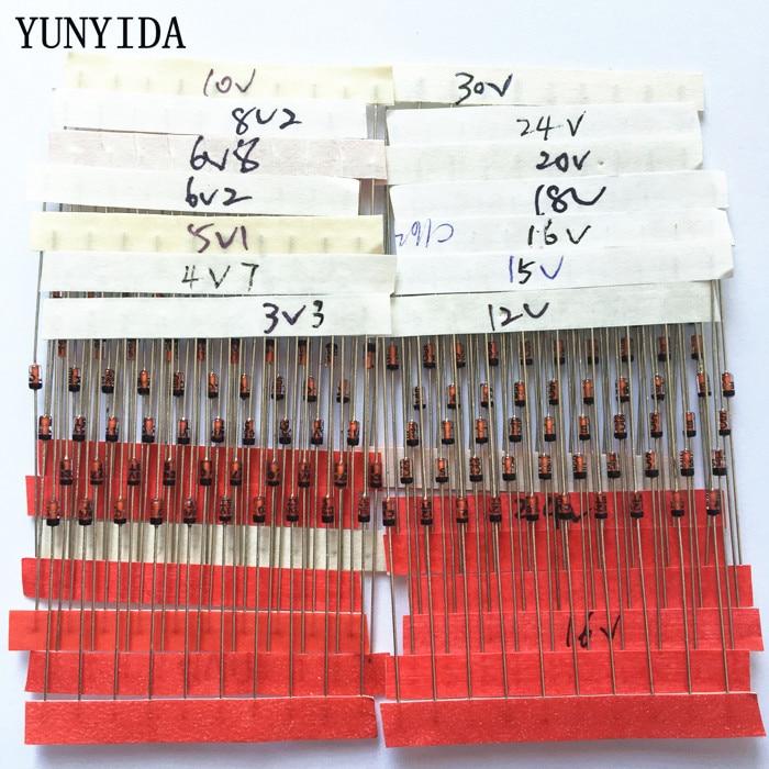 Диод Зенера 0,5-30 В, 1/2 Вт, 3,3 Вт, 14 значений * 10 шт. = 140 шт., набор ассортимента в ассортименте, новый электронный набор «сделай сам»