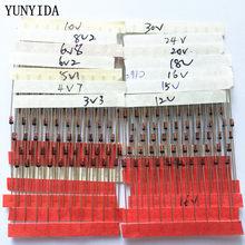 1/2w 0.5w zener diodo 3.3-30v 14 valores * 10 peças = 140 peças jogo de sortimento eletrônico novo kit diy