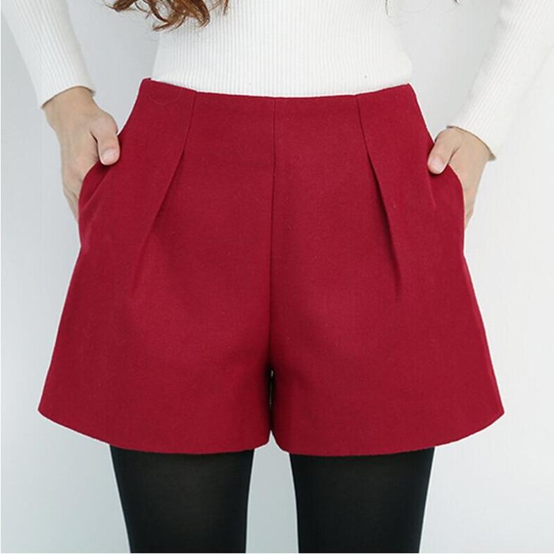 New 2019 Women Autumn Winter Casual   Shorts   Female High Waist Woolen   Shorts   Plus Size Basic Boot Cut Jeans   Shorts   Women S387