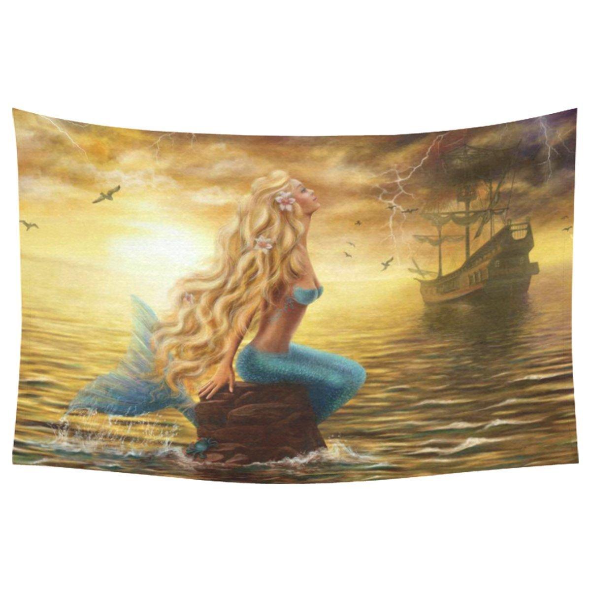 Закат на море Домашний Декор стены Книги по искусству, красивая принцесса Русалка с корабль-призрак Гобелены стене висит Художественные на...