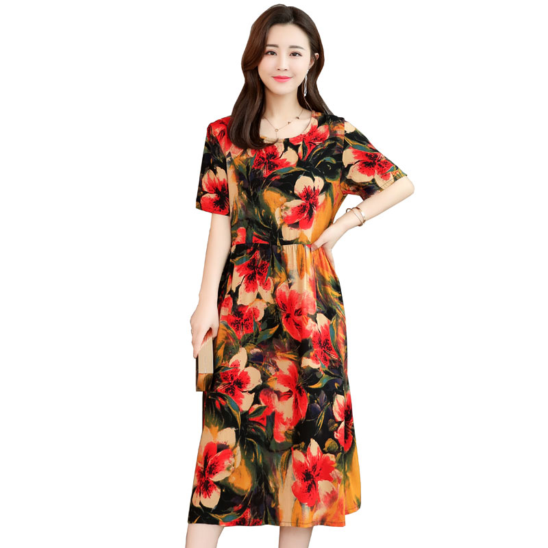 2019 Summer new middle aged women dresses floral printing plus size 6XL mother dress O neck Loose Short sleeves long dress YF019 image