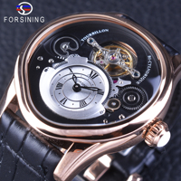 Forsining Rose Gold Tourbillion Design 316 Full Stainless Steel Case Genuine Leather Men Mechanical Watch With