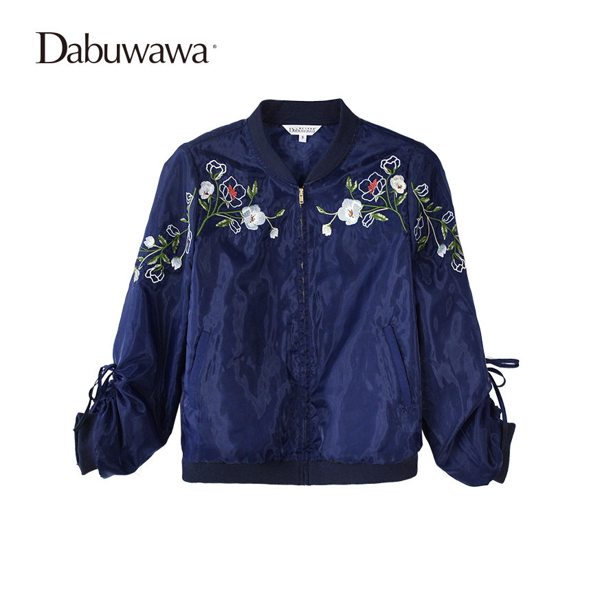 Dabuwawa Dark Blue Spring Short Bomber Jacket Floral Embroidery Jacket Women Long Sleeve Casual Baseball Coat 3