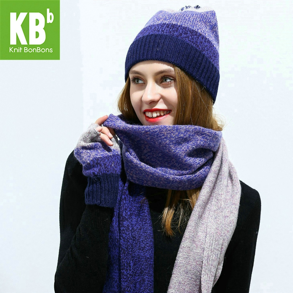 2018 KBB Lambswool Wool Knit Knitted Pom Pom Winter Warm Women's Female Girl Hat Beanie Gloves Scarf Scarves Set Bundle Sets