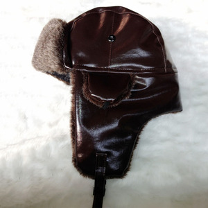 Bomber Hut mit Ohr Klappe Herren Winter Faux Leder Fur Russische Earflap Trapper Cap Aviator Fleece Mütze Männlich
