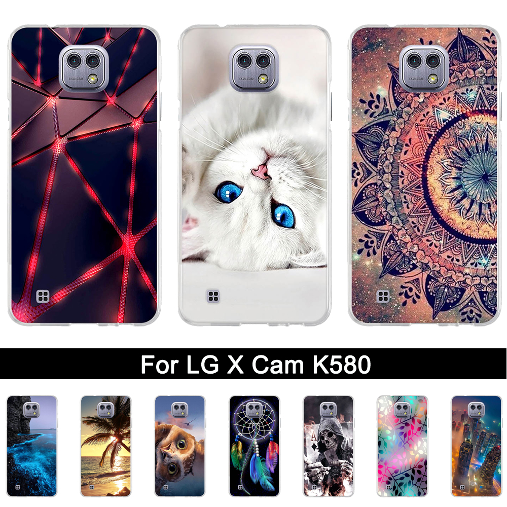 For LG X cam Case Luxury Fundas for LG X Cam K580 K580DS Coque 3D Relif Painting Cases for Lg x cam 5.2