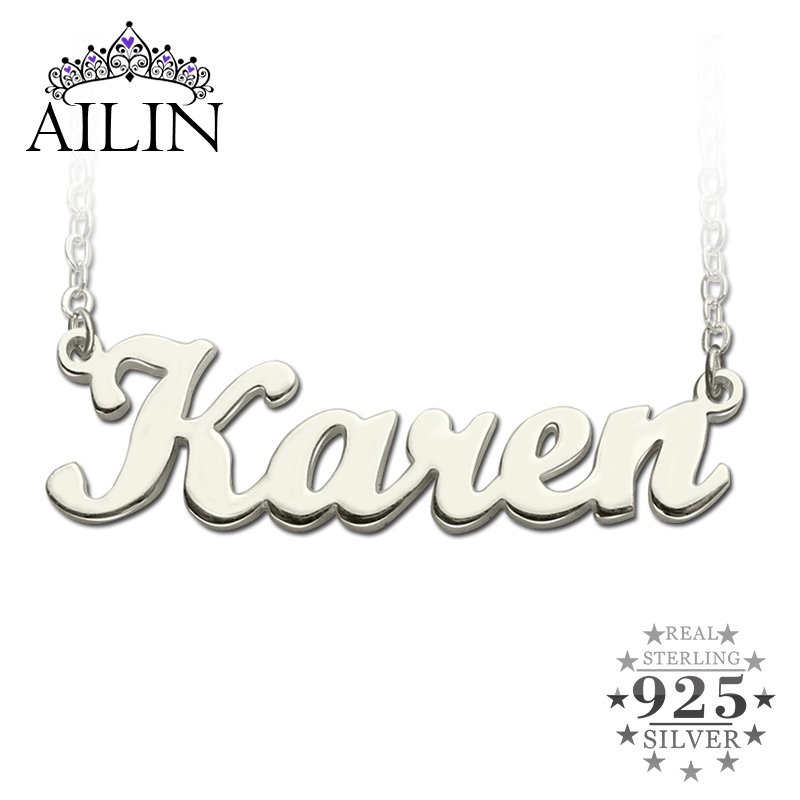AILIN Freeshipping--Karen Style Name Necklace Silver Initials Personalized  Jewelry Customized Necklace Perfect Gift ecfbcea3316b