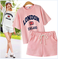 Women Summer Wear Short Sleeve Letters Printed 100%Cotton T Shirt Blouse And Elastic Waist Shorts Two-piece Set XL,2XL,3XL,4XL