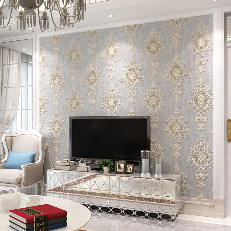 3D Non-woven Damask Wallpaper Wall Covering Roll European Style Living Room Bedroom TV Background Decor Wall Papers Home Decor colomac modern 3d striped non woven vinyl pink living room wallpaper roll thicken bedroom tv background decor wall paper roll
