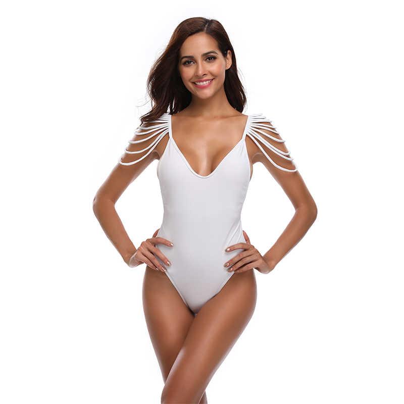 3221c797d4a ... New Sexy Tassel Fringe Monokini Women One Piece Suit Solid Color  Swimwear S-XL Backless ...