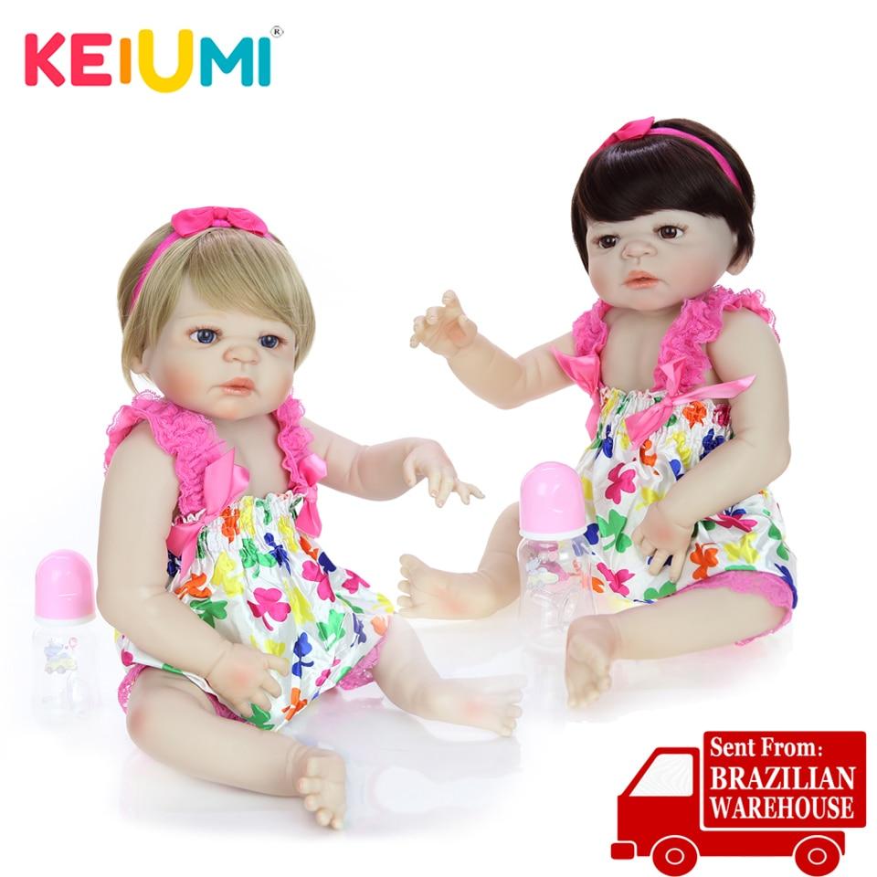 Keiumi 23 ''사랑스러운 전체 실리콘 reborn baby dolls for kids 생일 선물 true to life reborn 아기 소녀 쌍둥이 민족 인형-에서인형부터 완구 & 취미 의  그룹 1