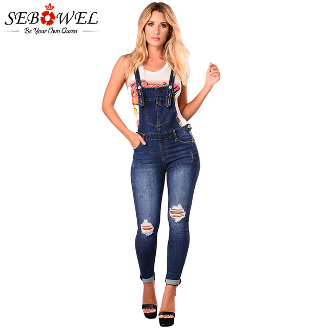3079aa4417c Jeans Woman Plus Size Dark Blue Denim Ripped Holes Overalls Girls Denim  Suspenders Pants Rompers Cotton Female Skinny Jeans