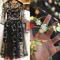 18dd8e91265 Чистая Пряжа трехмерная вышивка шифон цветок кружево ткань сетки материал  см 130 см diy платье костюмы