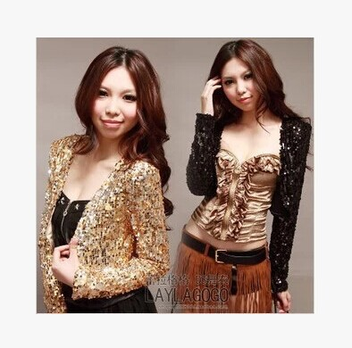 New Girl Shine Glitter Sequin Short Jacket Coat Crop Top Hot Jazz Dance Costume-in Jackets from Women's Clothing on AliExpress - 11.11_Double 11_Singles' Day 1