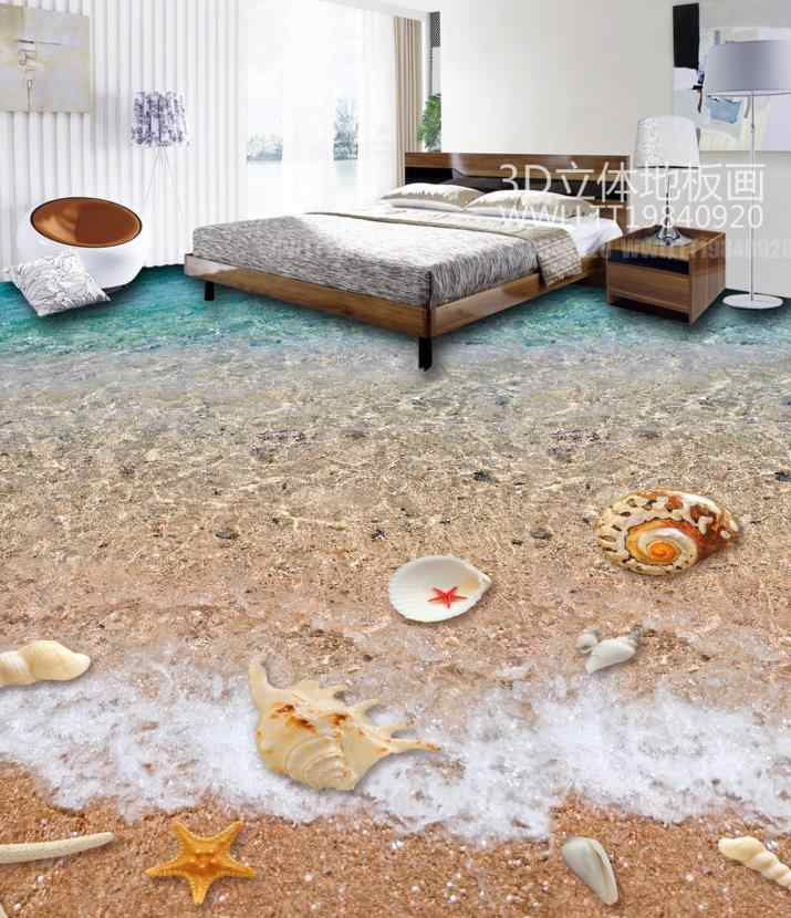 Tùy chỉnh 3d sàn Bãi Biển Bãi biển vỏ ảnh nền 3d gạch lát sàn cho phòng khách