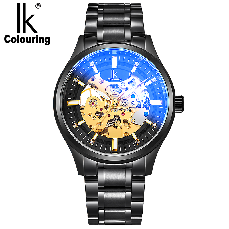 IK Coloring Fashion Men's See Through Stainless Steel Automatic Mechanical Wrist Watch Wristwatch  Gift Free Ship coloring of trees