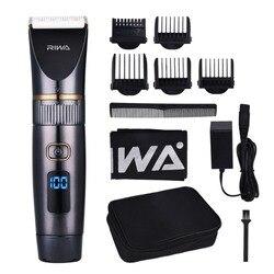 Profissional à prova dwaterproof água aparador de cabelo display led máquina de corte de cabelo grooming baixo ruído clipper titânio lâmina cerâmica
