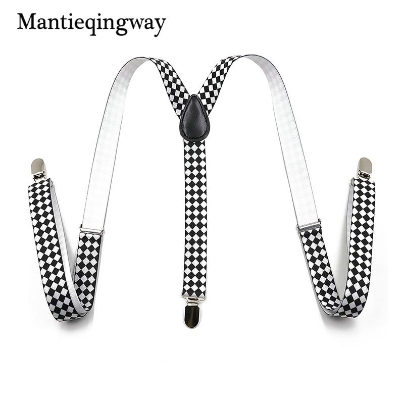 Mantieqingway Unisex Suspenders Adjustable Leather 3 Clips Braces Black And White Geometric Suspenders Wedding Y-back Suspenders