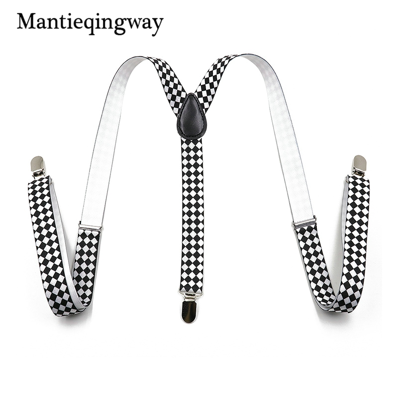 Mantieqingway Unisex Suspenders Adjustable Leather 3 Clips Braces Black And white Geometric Suspenders Wedding Y-back Suspenders