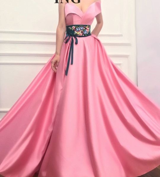 Pink Muslim   Evening     Dresses   2019 A-line V-neck Embroidery Beaded Slit Islamic Dubai Saudi Arabic Long Formal   Evening   Gown