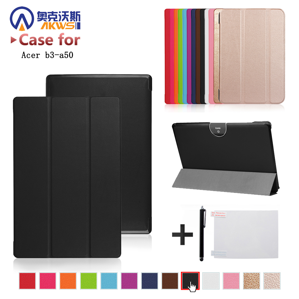 For Acer Iconia Tab 10 A3-A50 One 10 A3-A50 10.1 inch Tablet Ultra Slim Magnetic 3 Fold Stand PU Leather Cover Protective Case 10 1 inch universal tablet for acer iconia tab a500 a501 a510 a511 a700 a701 pu leather cover case for 10 inch android kf492a