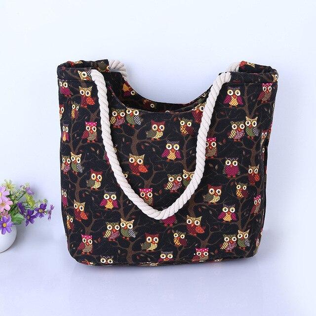Cute Owl Large Canvas Shopping Tote Bag Big Shoulder Bags for Woman Bag Summer Beach Handbag Women Messenger Fashion