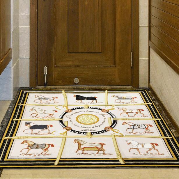 2cm épais américain carré foulard motif imprimé tapis pour salon cuisine tapis couloir absorbant antidérapant tapis décor à la maison