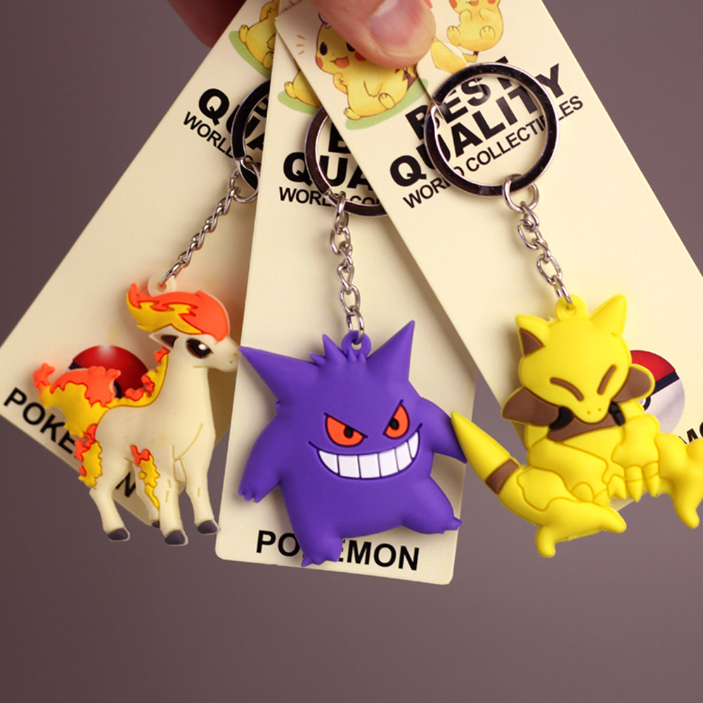 New Pikachu Keychain Pocket Monster Key Holder Pokemon Go Key Ring Pendant 3D Mini Charmander Squirtle Bulbasaur